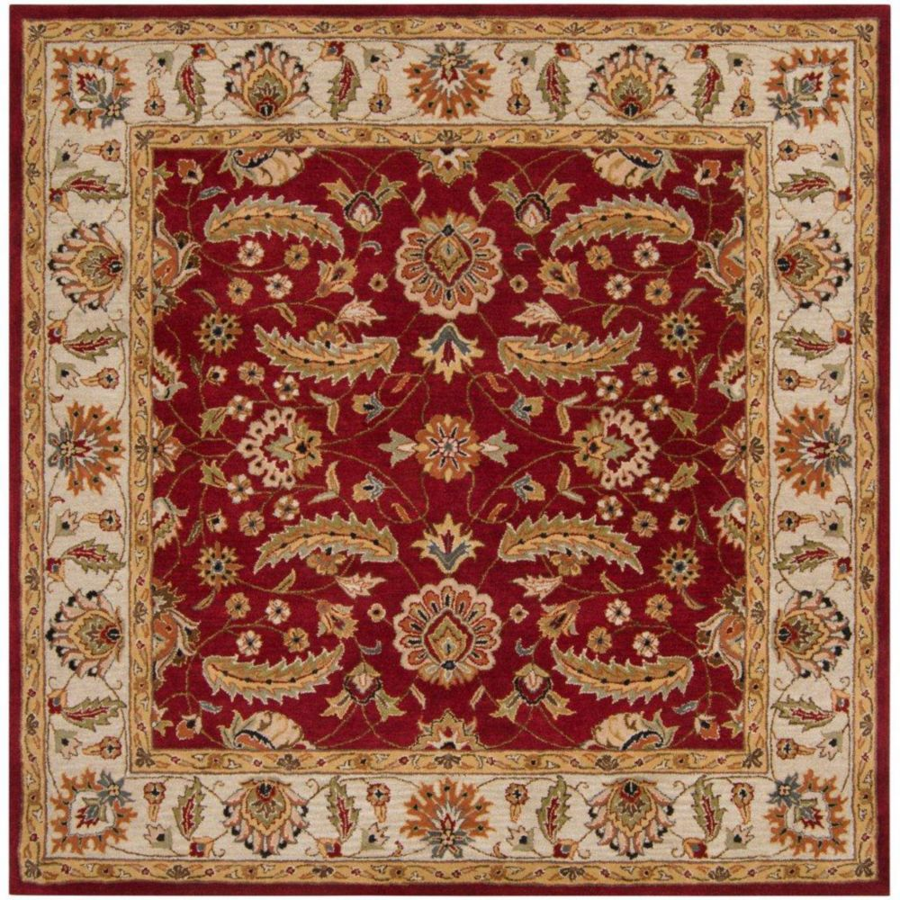 Brisbane Red Wool Square  - 6 Ft. Area Rug