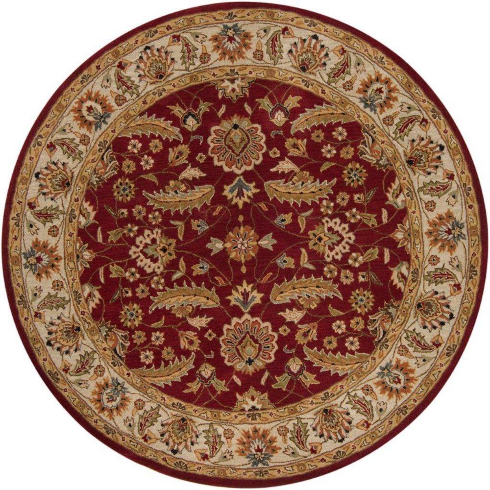 Brisbane Red Wool Round  - 8 Ft. Area Rug