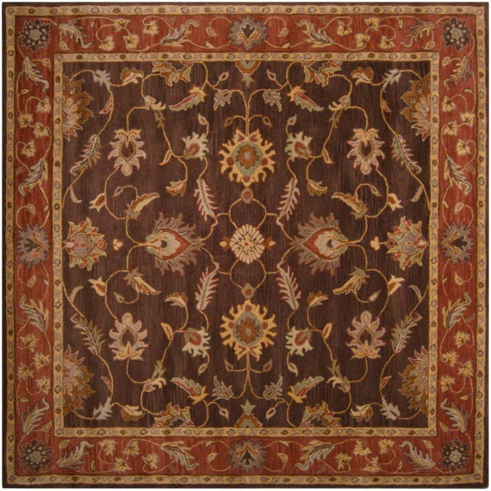 Cabris Chocolate Wool Square  - 6 Ft. Area Rug