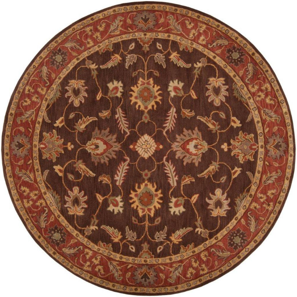 Cabris Chocolate Wool Round  - 8 Ft. Area Rug