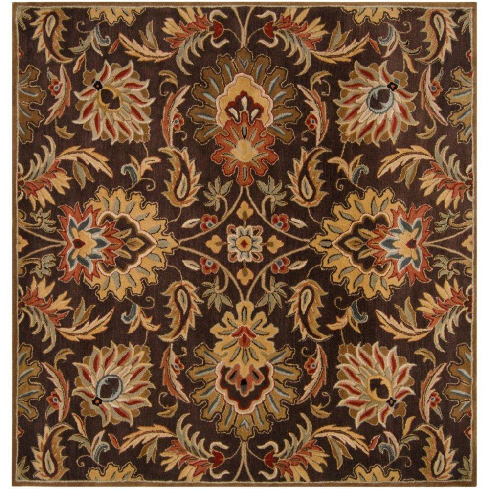 Calabasas Chocolate Wool Square  - 6 Ft. Area Rug