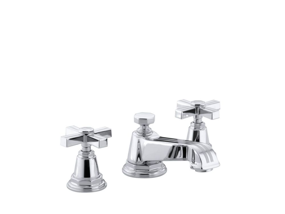 KOHLER Pinstripe(R) widespread bathroom sink faucet with cross handles