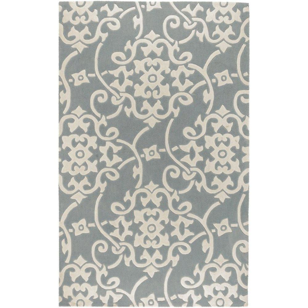 Tapis Haisnes gris argent  polyester  - 5 Po. x 8 Po.