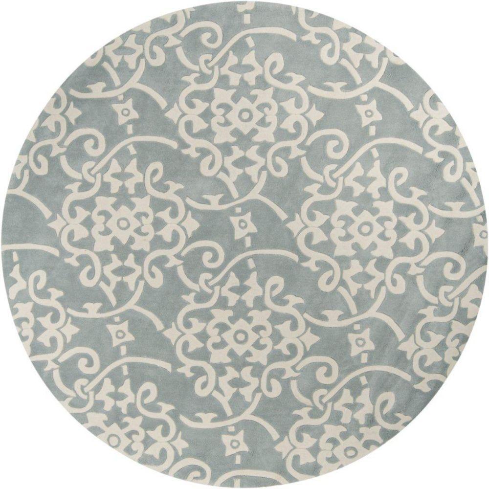 Tapis Haisnes gris argent  polyester  - 8 Po., rond
