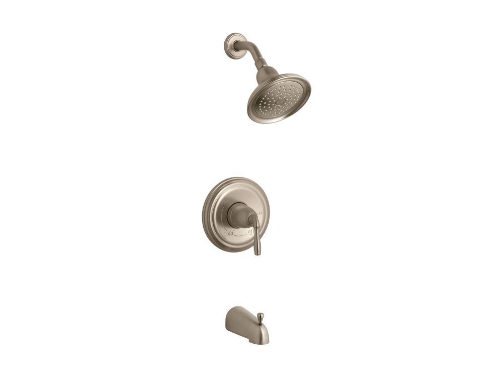 foremost international 3 handle bath shower faucet with porcelain lever handles the home depot. Black Bedroom Furniture Sets. Home Design Ideas