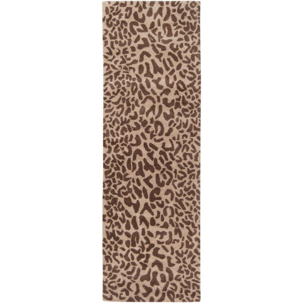 Alhambra Tan Wool Area Rug - 3 Feet x 12 Feet