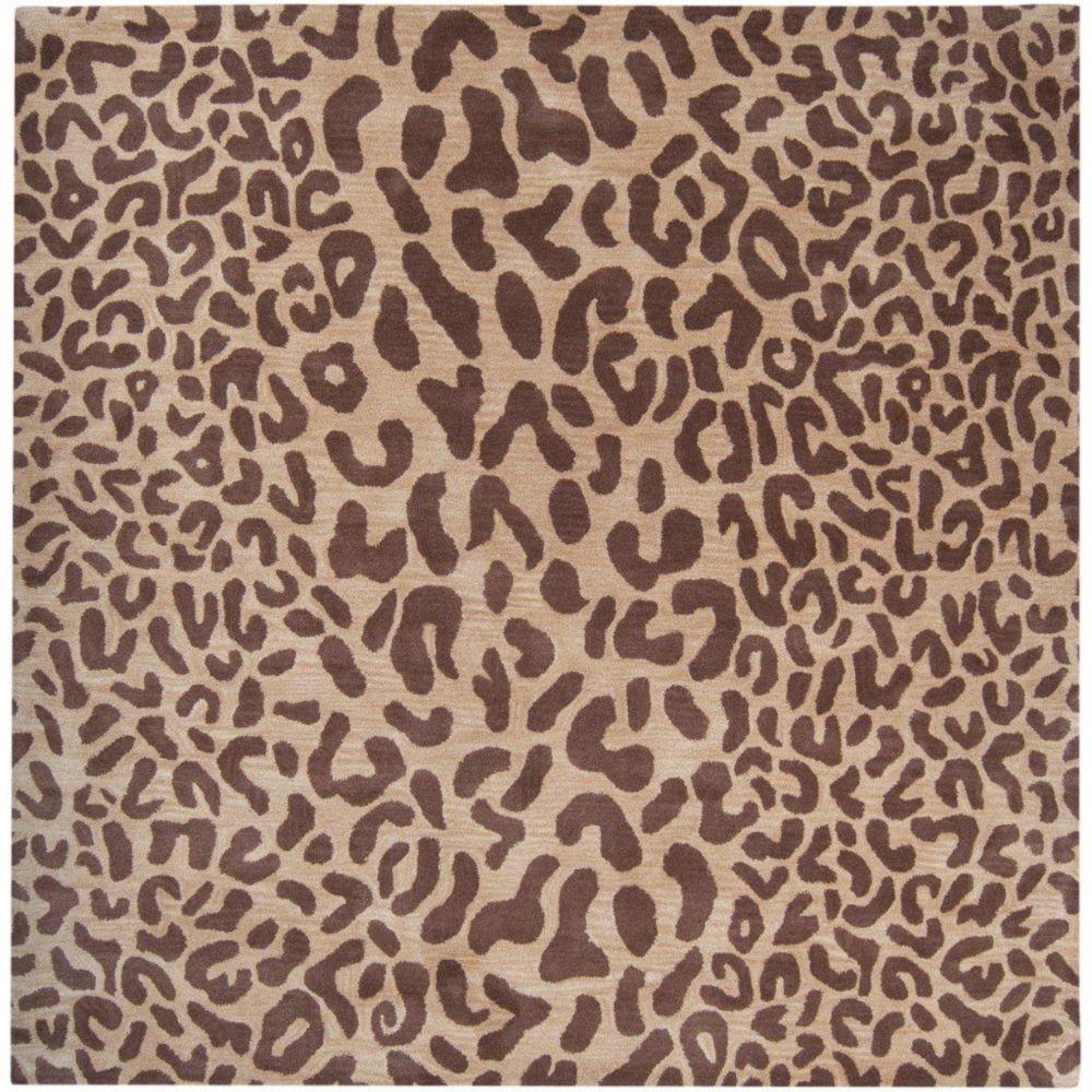 Tapis carré Alhambra brun clair en laine 4 Pi. Carré