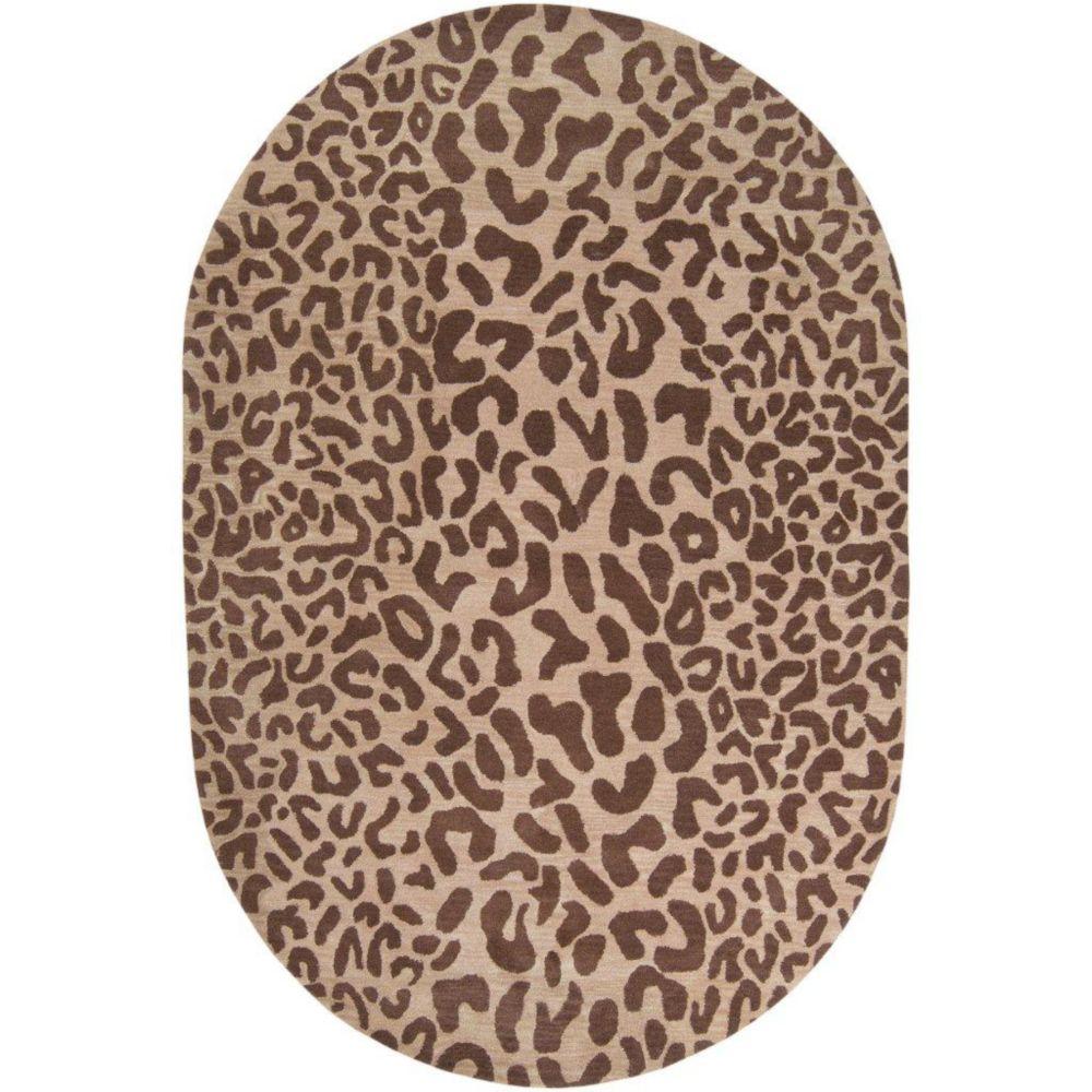 Tapis ovale Alhambra brun clair en laine 8 Pi. x 10 Pi.