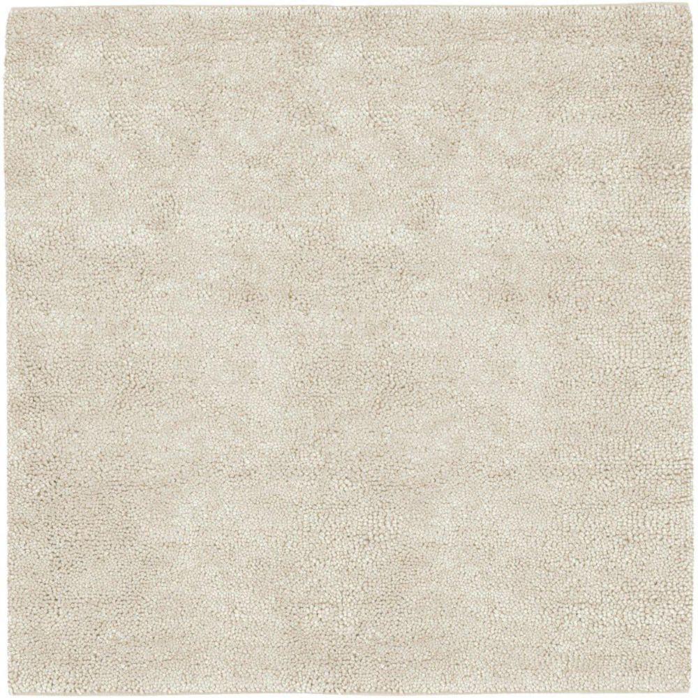 Tapis carré Adelanto ivoire en laine feutrée de Nouvelle-Zélande 8 Pi.