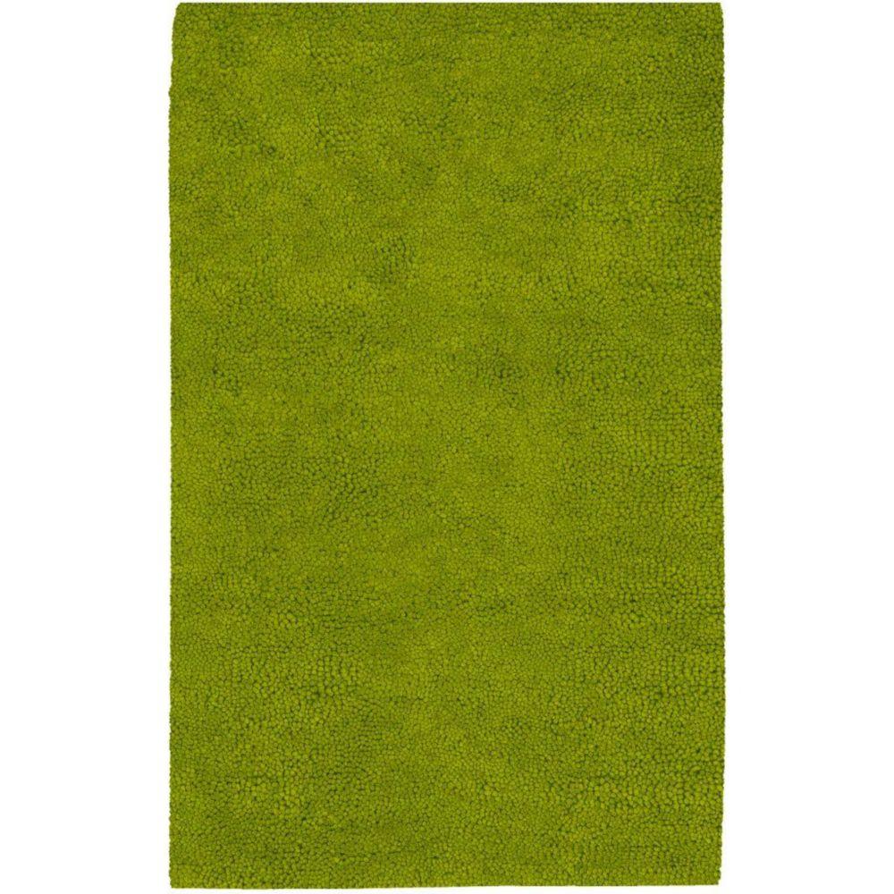 Tapis Agoura vert citron en laine feutrée de Nouvelle-Zélande - 3 pieds 6 pouces x 5 pieds 6 pouc...