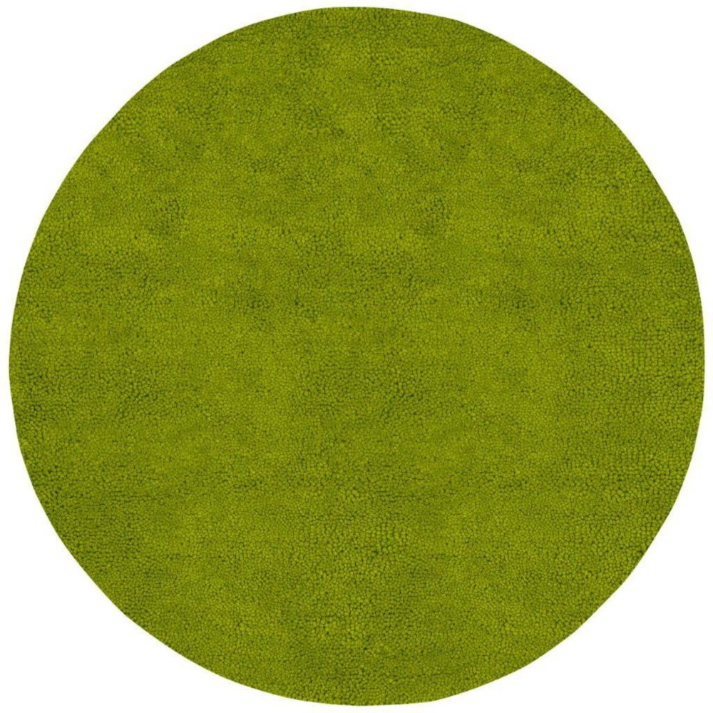 Agoura Lime Green New Zealand Felted Wool 8 Ft. Round Area Rug