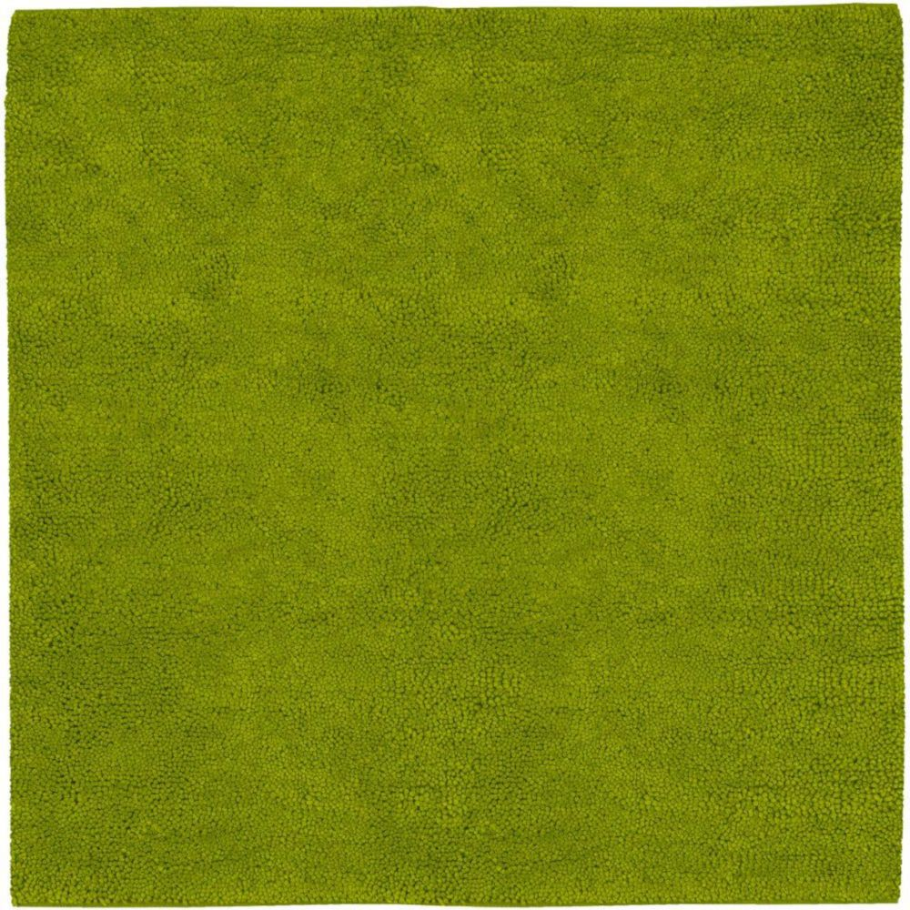Agoura Lime Green New Zealand Felted Wool 8 Ft. Square Area Rug