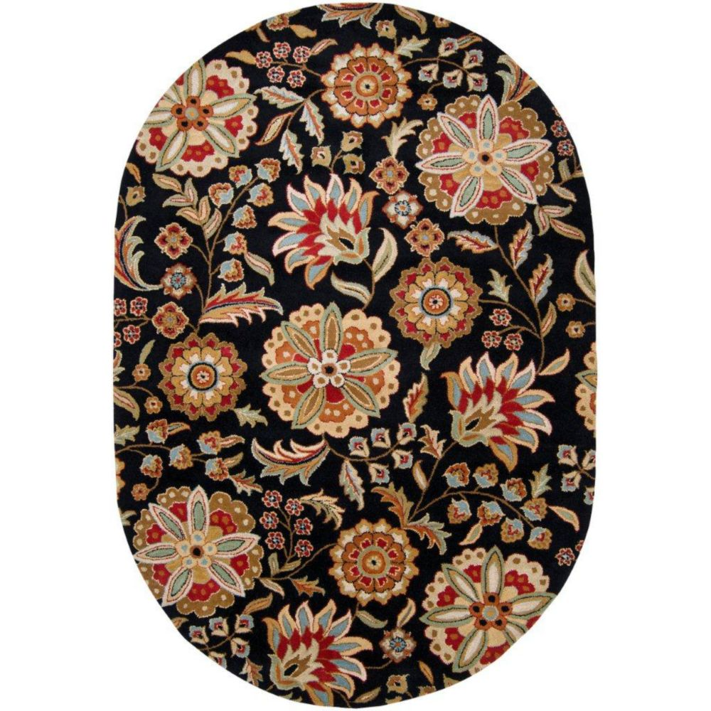 Anderson Black Wool 8 Ft. x 10 Ft. Area Rug Oval