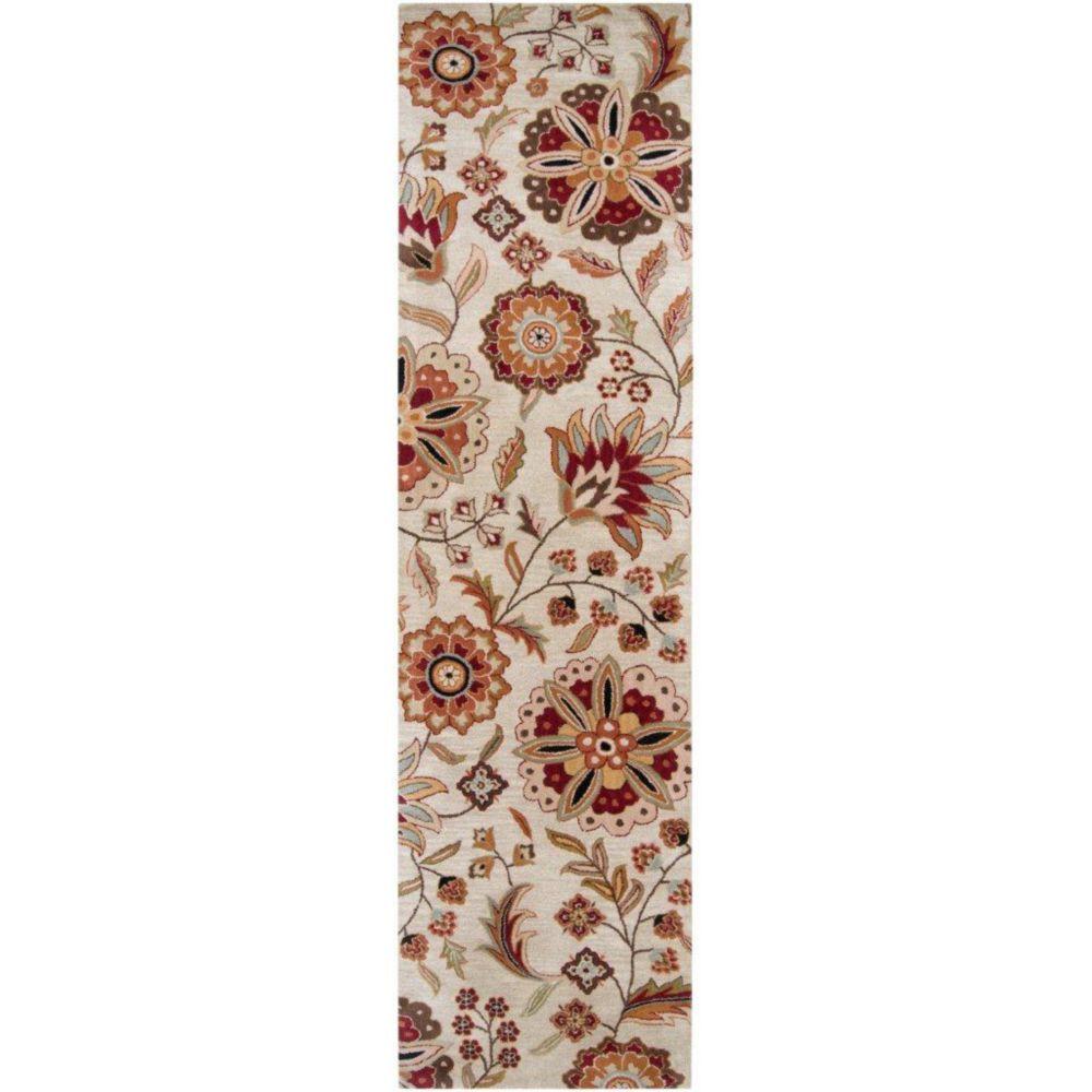 Antioch Ivory Wool 3 Feet x 12 Feet Area Rug