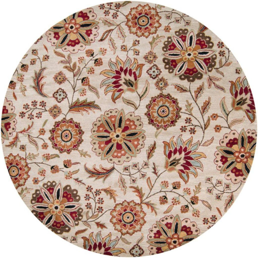 Antioch Ivory Wool 4 Feet Round Area Rug