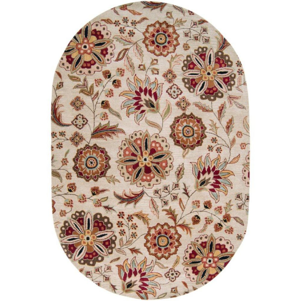 Antioch Ivory Wool 6 Feet x 9 Feet Oval Area Rug