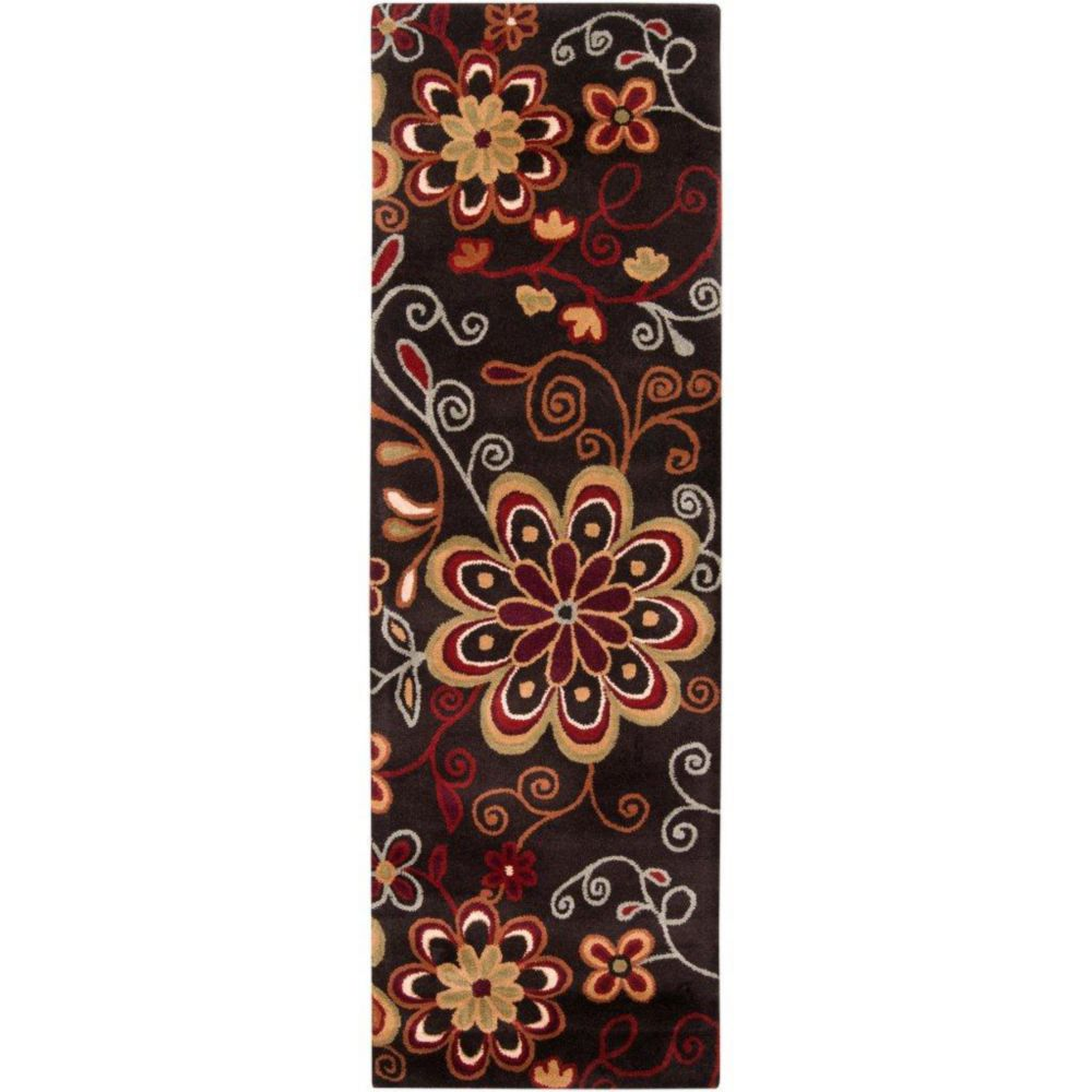 Arcadia Chocolate Wool Area Rug - 3 Feet x 12 Feet