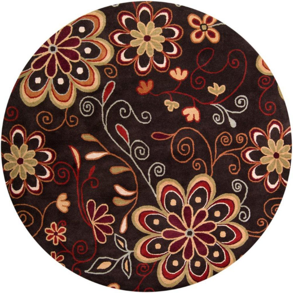 Tapis Arcadia chocolat en laine 4 Pi. rond