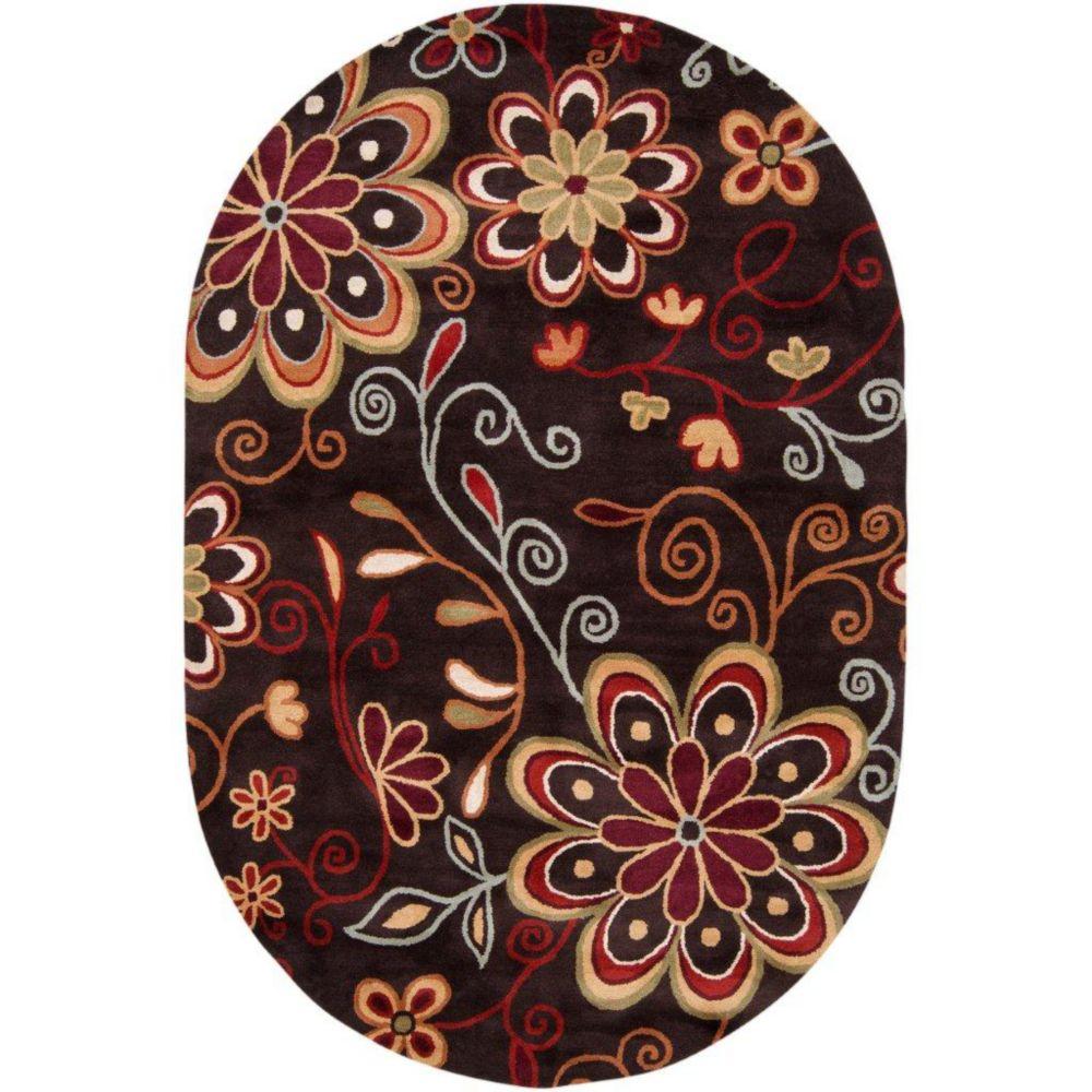 Tapis Arcadia chocolat en laine 6 Pi. x 9 Pi. ovale
