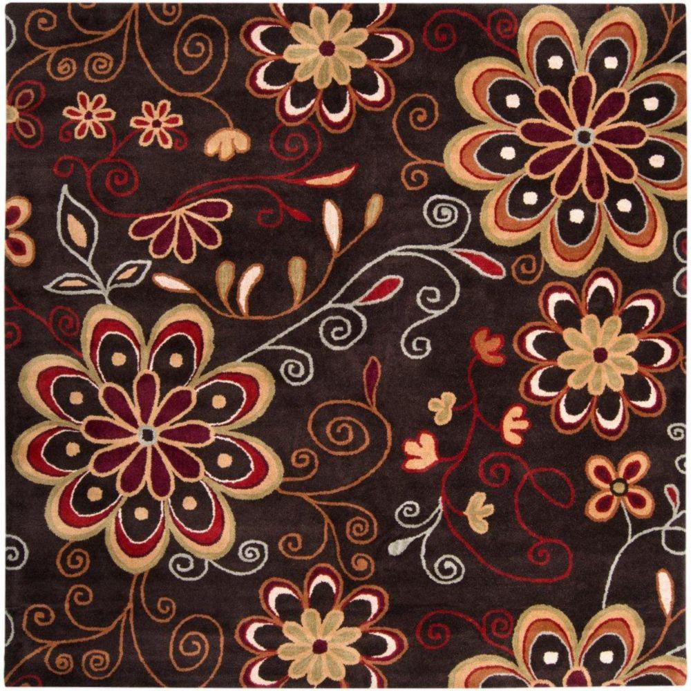 Tapis Arcadia chocolat en laine  - 8 pieds, carré