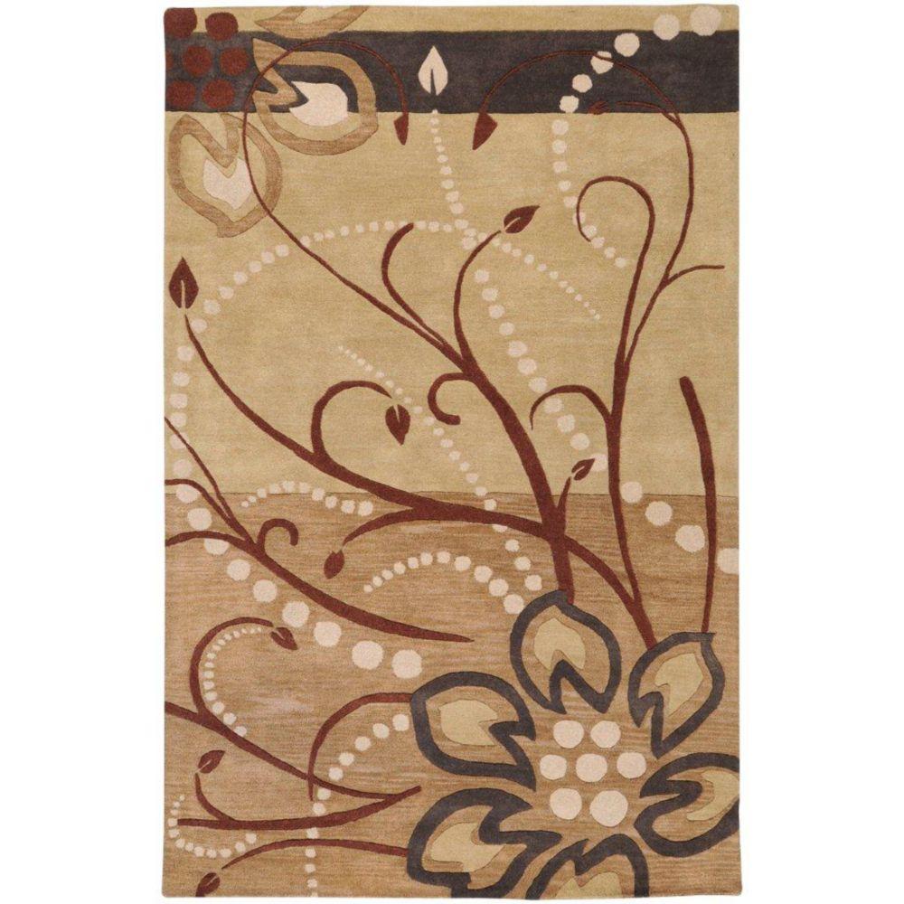 Tapis Amador brun clair en laine 12 Pi. x 15 Pi.