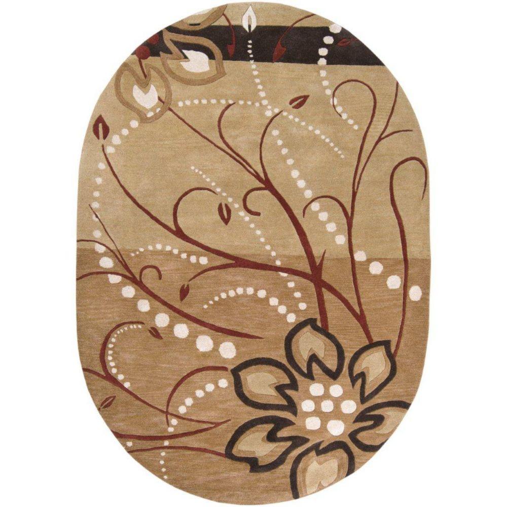 Tapis Amador brun clair en laine 6 Pi. x 9 Pi. ovale