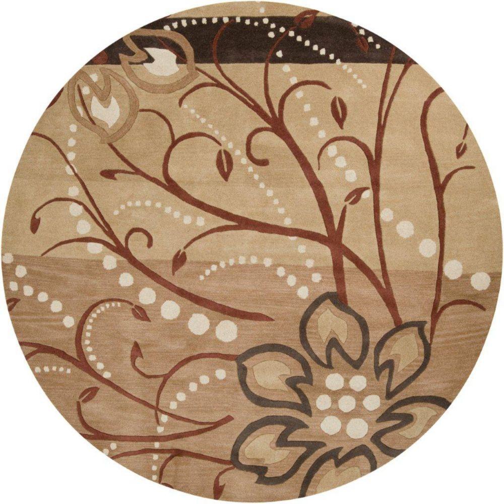 Tapis Amador brun clair en laine 6 Pi. rond