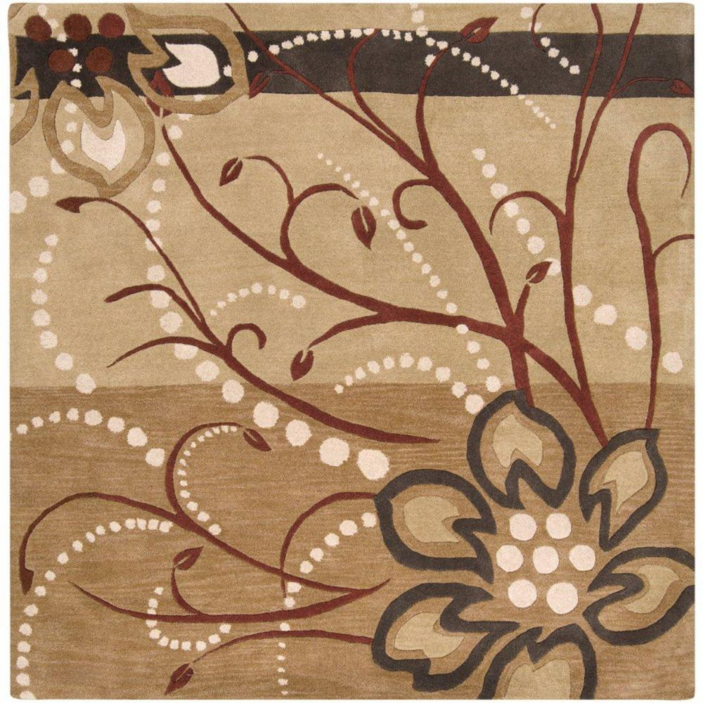 Amador Tan Wool Area Rug - 6 Feet Square