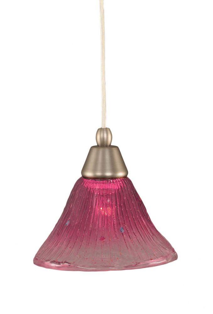 Concord 1 Light Ceiling Brushed Nickel Incandescent Pendant with a Wine Crystal Glass