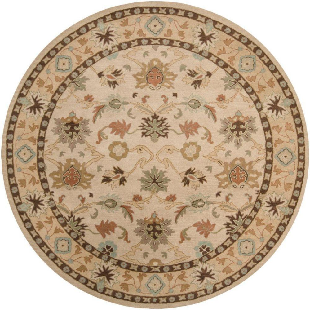 Brea Beige Wool Round  - 6 Ft. Area Rug