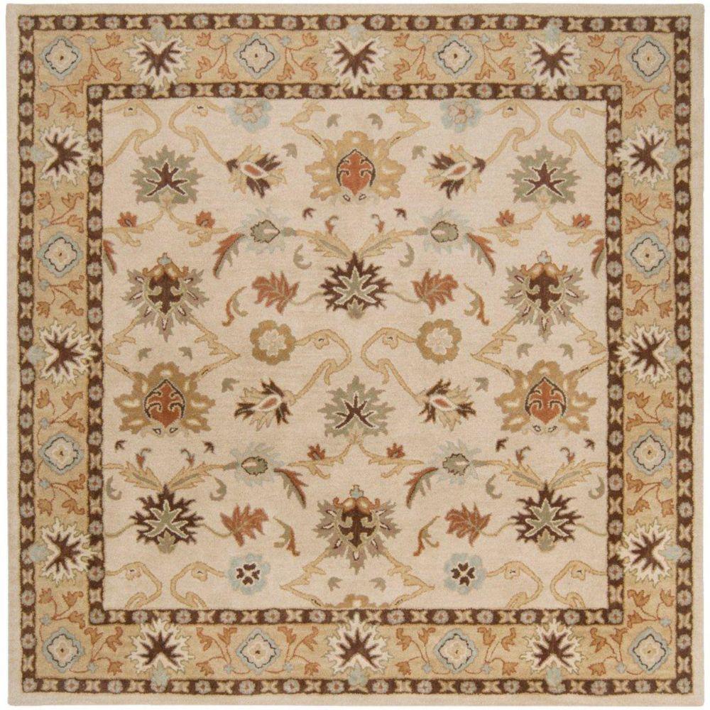 Tapis Brea beige  en laine, carré  - 8 Po.