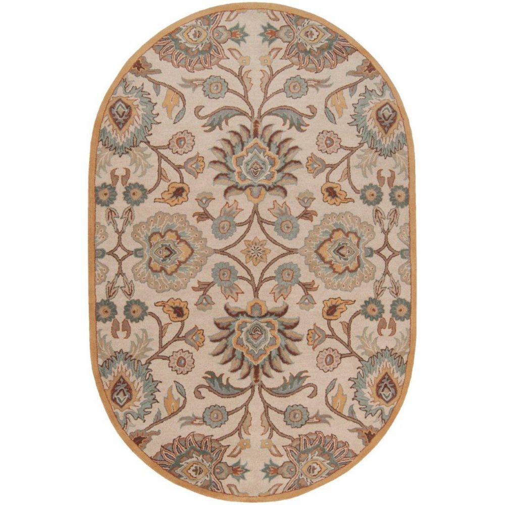 Brentwood Beige Wool Oval  - 6 Ft. x 9 Ft. Area Rug