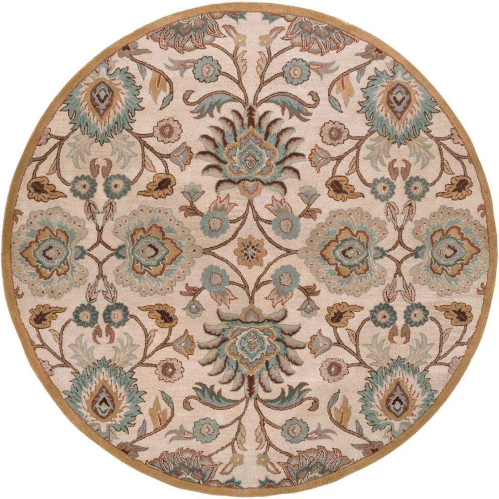 Brentwood Beige Wool Round  - 6 Ft. Area Rug