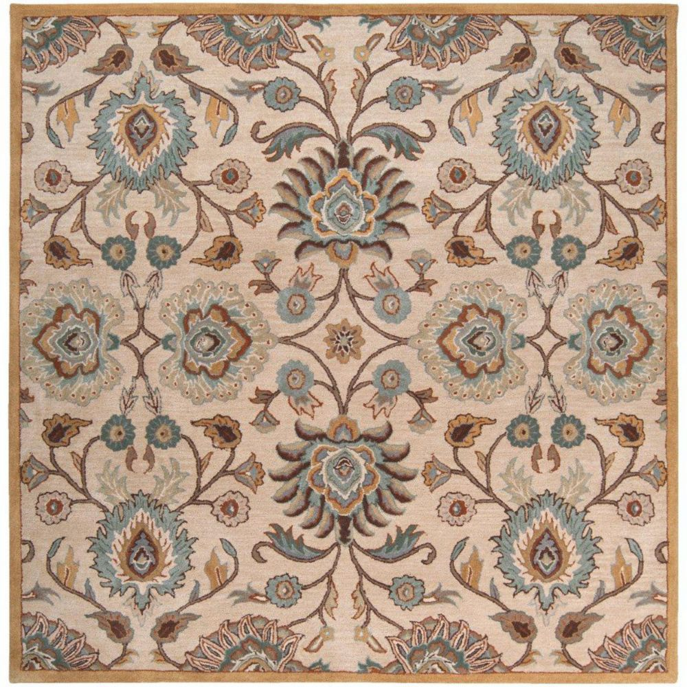 Brentwood Beige Wool Square  - 6 Ft. Area Rug