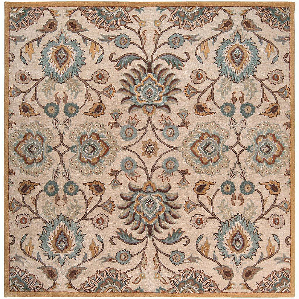 Brentwood Beige Tan 6 ft. x 6 ft. Indoor Transitional Square Area Rug