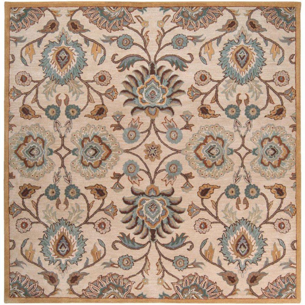 Tapis Brentwood beige  en laine, carré  - 9 Po. 9 Pi.