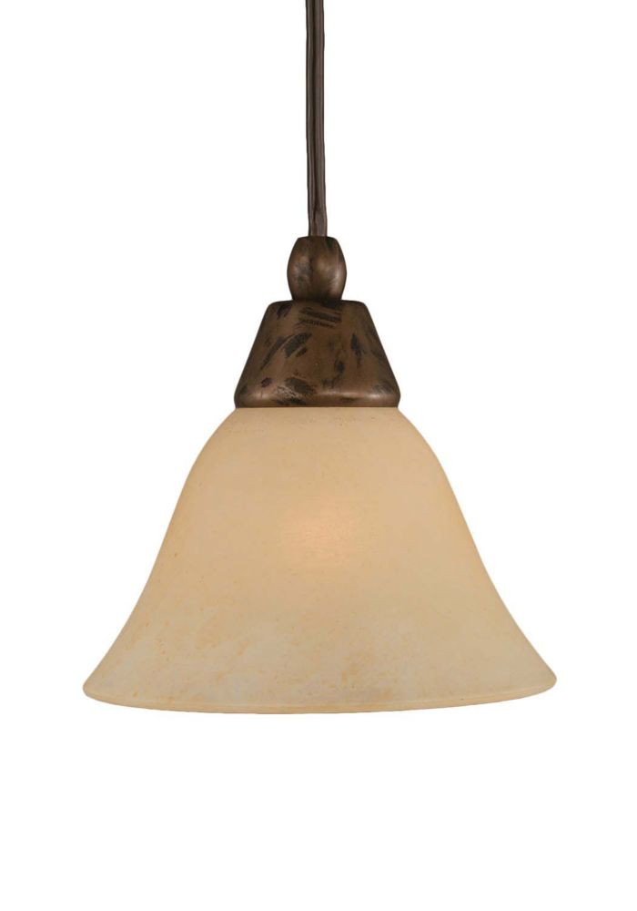 Concord 1 Light Ceiling Bronze Incandescent Pendant with an Amber Glass