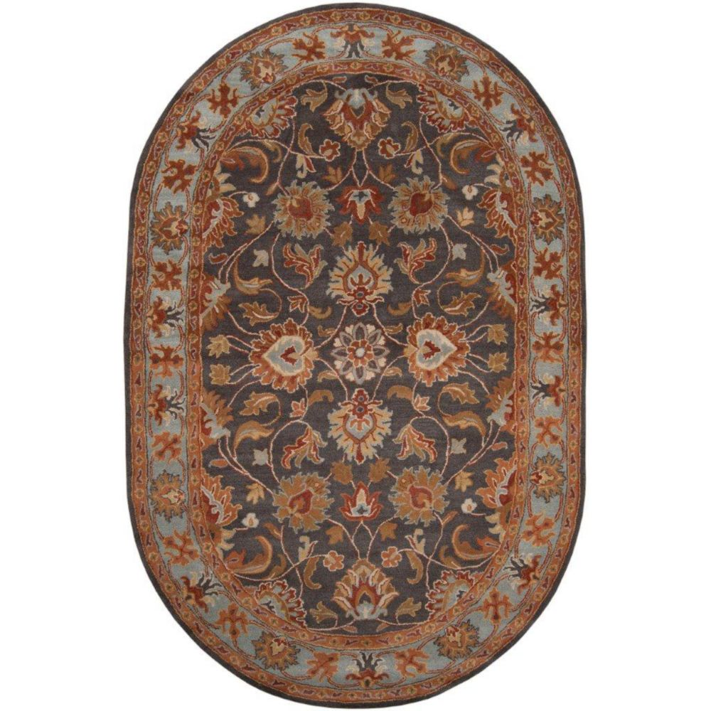 Benicia Charcoal Wool Oval  - 6 Ft. x 9 Ft. Area Rug