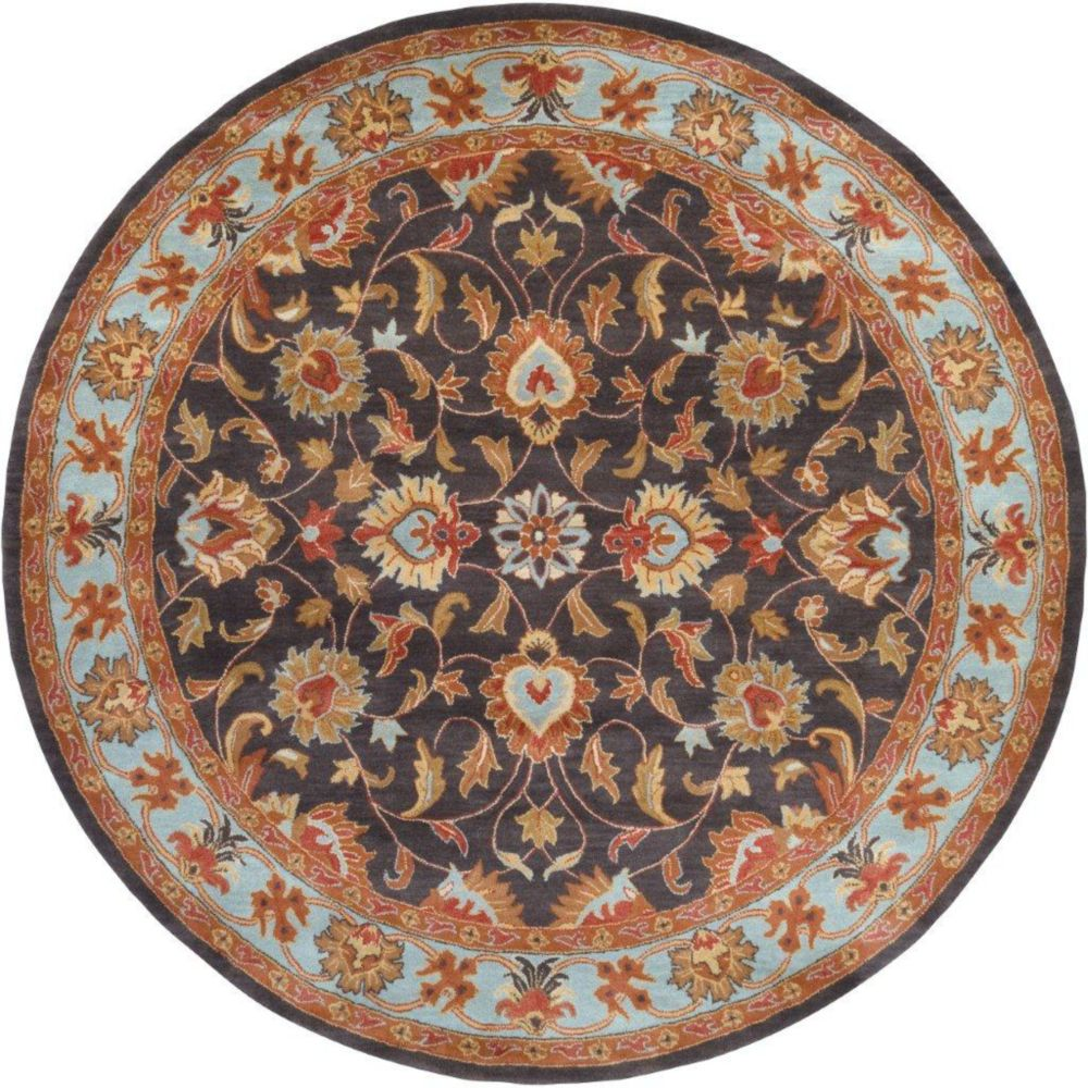 Benicia Charcoal Wool Round  - 6 Ft. Area Rug
