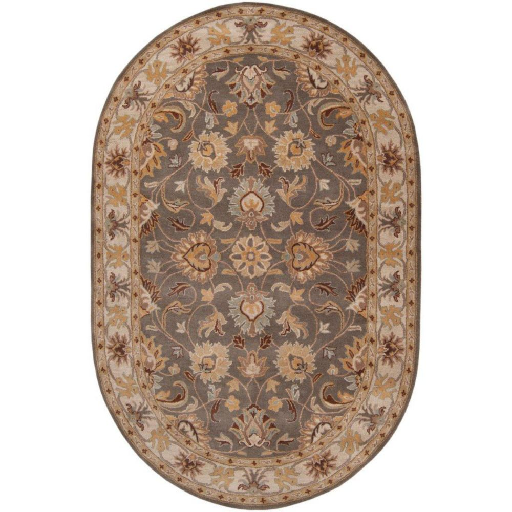 Berkeley Charcoal Wool Oval  - 6 Ft. x 9 Ft. Area Rug