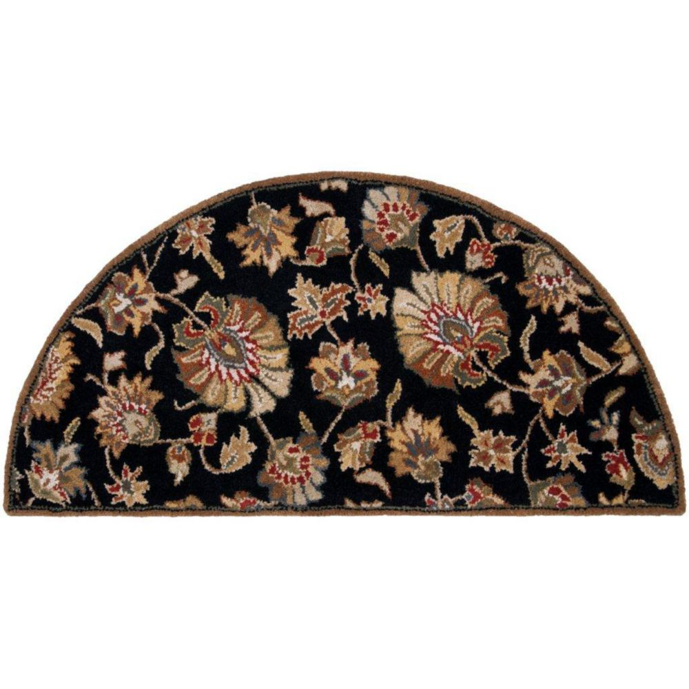 Artistic Weavers Burbank Black 2 ft. x 4 ft. Indoor Transitional Semi-Circular Accent Rug