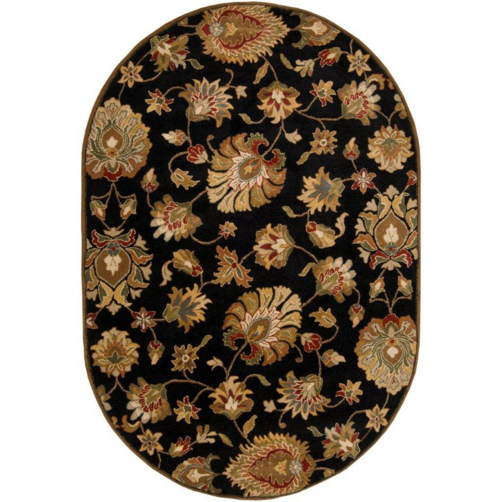 Burbank Black Wool Oval  - 6 Ft. x 9 Ft. Area Rug