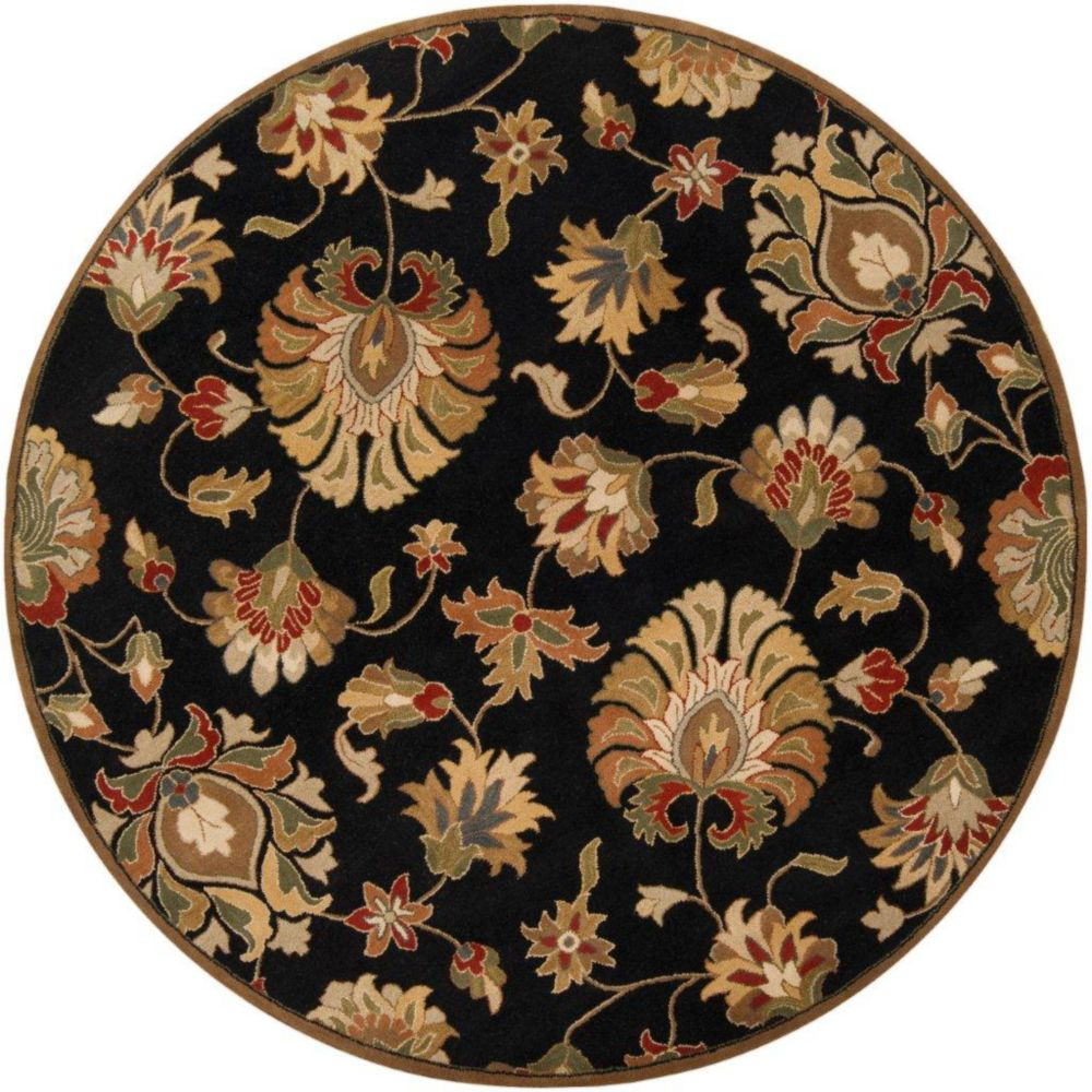 Artistic weavers burbank black wool round 6 ft area rug for Where to buy round rugs