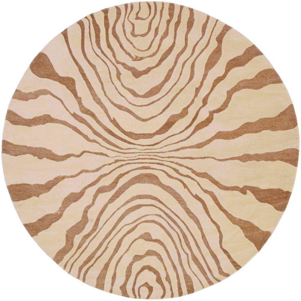 Tapis Merritt beige en laine de Nouvelle-Zélande 8 Pi. rond