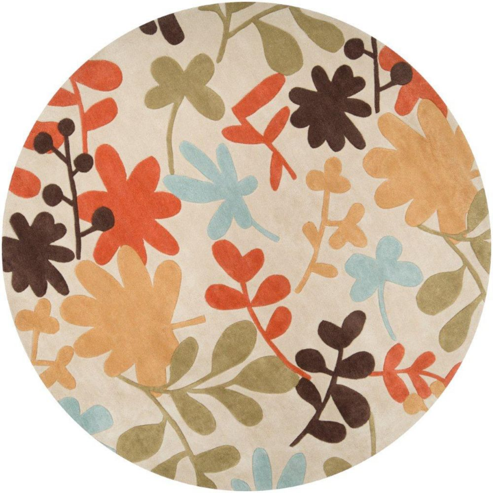 Tapis Nailly  Ivoire polyester, rond  - 8 Po.