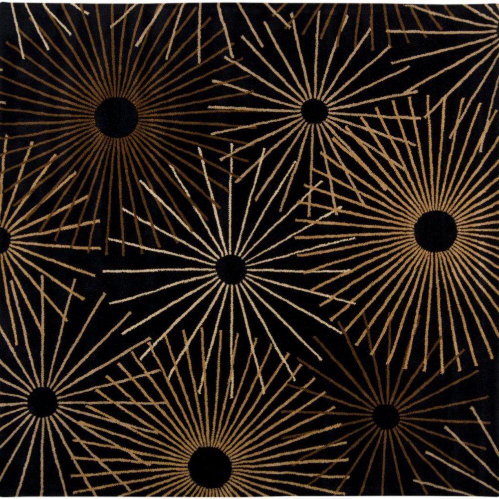 Rannee Black Wool 9 Feet x 9 Feet Square Area Rug