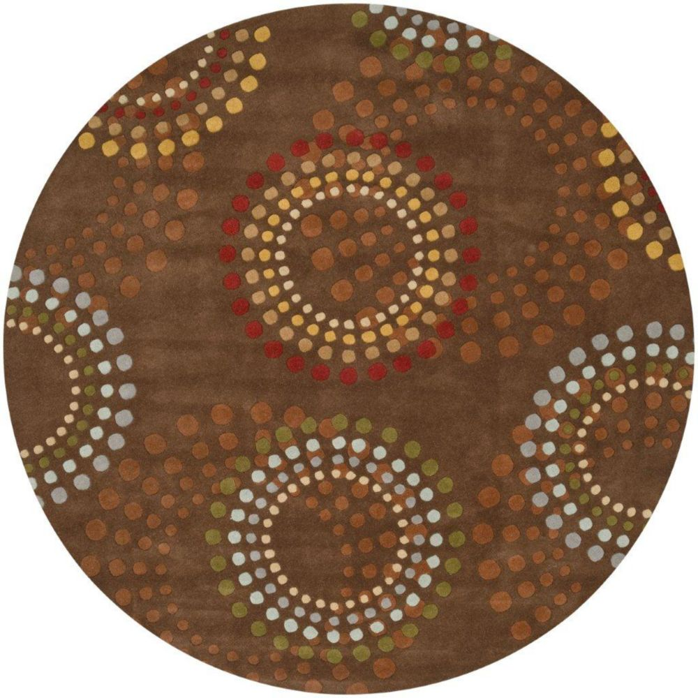 Tapis Rantigny chocolat en laine  - 6 pieds, rond