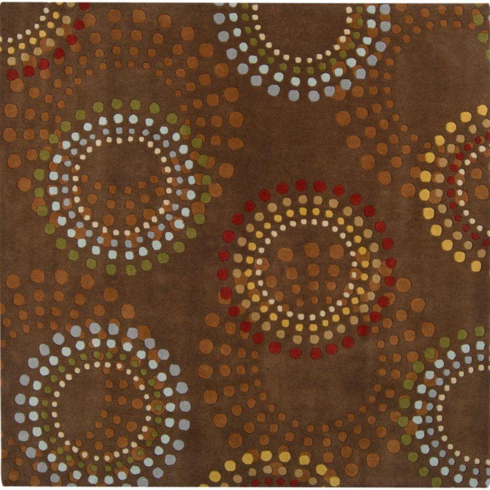 Rantigny Chocolate Wool 8 Feet Square Area Rug