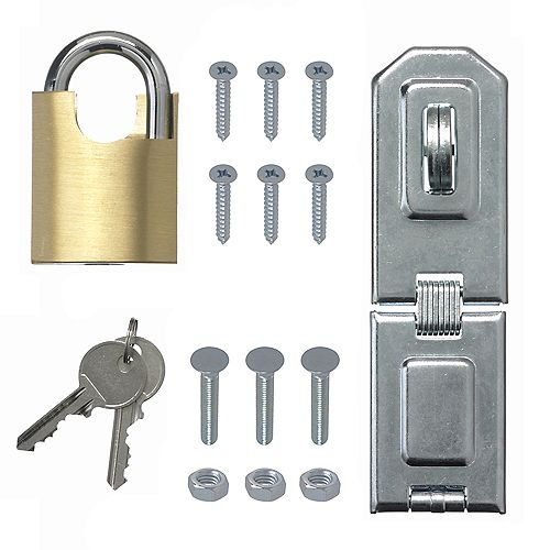 Everbilt 8-1/2-Inch Zinc Plated Heavy Duty Security Hasp and Brass Padlock - 1pk