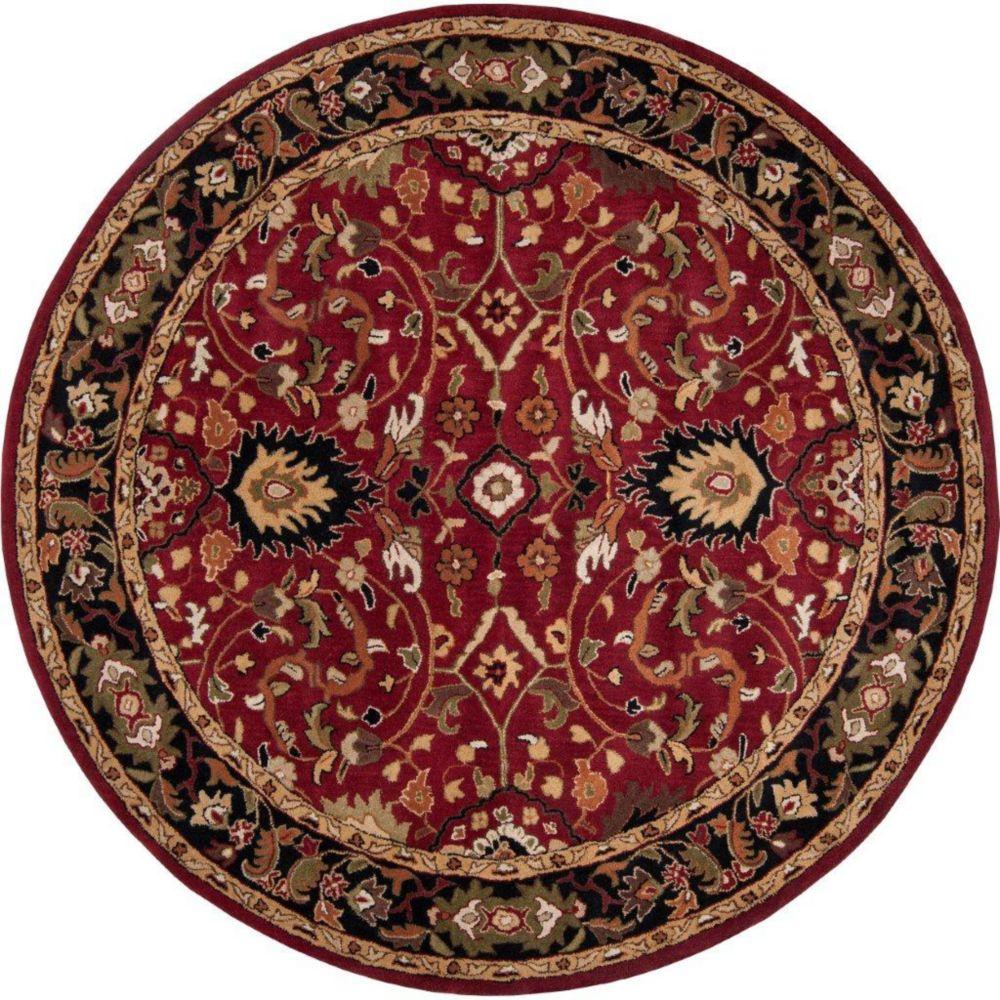 Tapis Calistoga rouge en laine, rond  - 4 Po.
